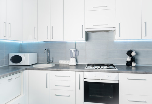 modern white kitchen frontal view